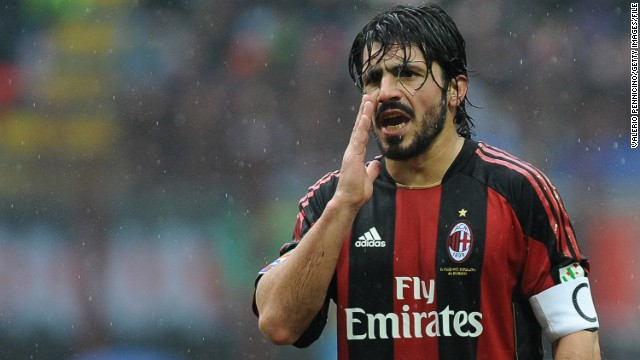 Gennaro Gattuso spent 13 years at AC Milan winning two European Champions League titles.