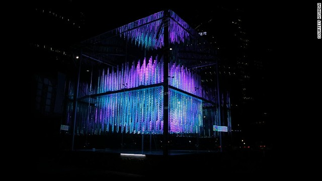Comprised of more than 500 clear LED poles, the matrix continuously flashes hypnotic, colorful images and patterns throughout the night.