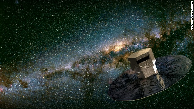 An artist's impression of the European Space Agency's space telescope Gaia in operation.
