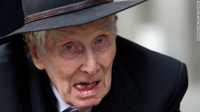 Biggs arrives at the funeral of the mastermind of the Great Train Robbery, Bruce Reynolds, in London, on March 20.