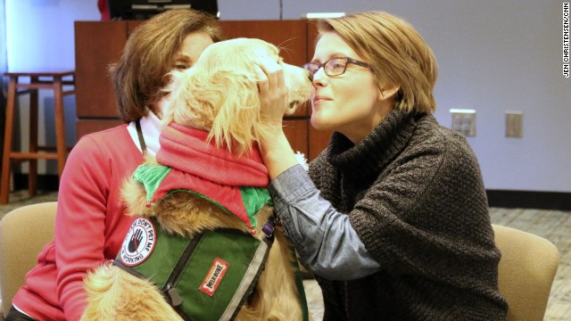 Counselors say finals stress often causes a kind of tunnel vision. The dogs help students step out of themselves and relax.