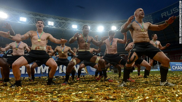 New Zealand's sevens team perform the haka in celebration of their victory over England in the final of the 2103 World Cup Sevens final at Moscow's Luzhniki Stadium.