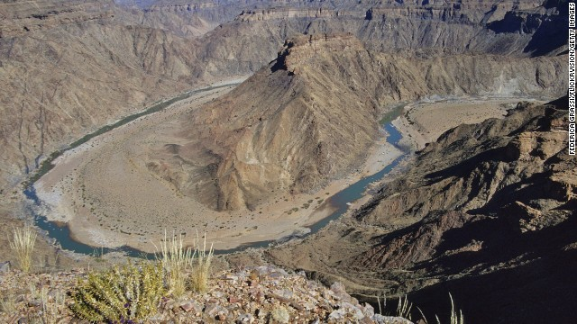 The Fish River Canyon in Namibia is the largest canyon in Africa and a popular tourist attraction.