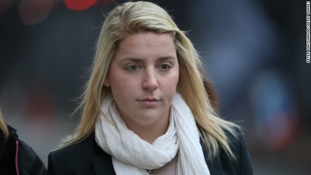 Aimee West, fiancee of Lee Rigby, arrives at the Central Criminal Court in London on December 17.