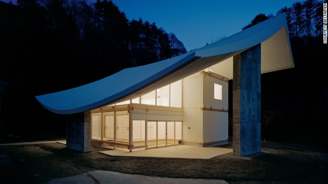 Located in the mountains of Nagano, Japan, this elegant Buddhist temple was built with a thick concrete roof to withstand heavy snowfall. Designed by Katsuhiro Miyamoto & Associates.