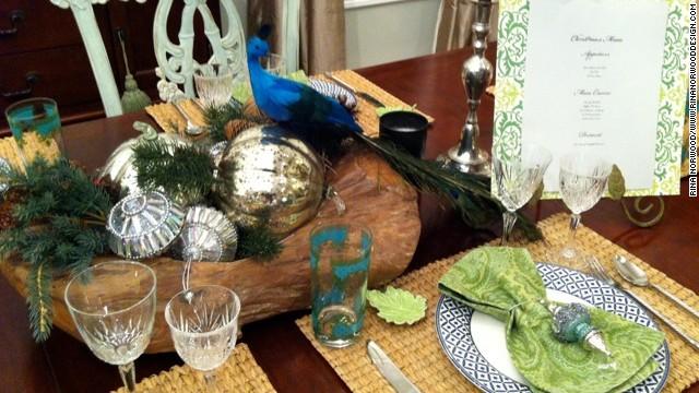 Rina Norwood layered peacocks and woodland botanicals for her Christmas decor.