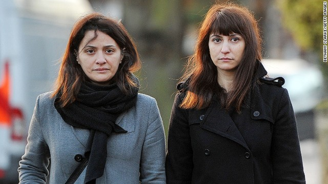 Elisabetta Grillo, left, and Francesca Grillo arrive at Isleworth Crown Court on Thursday in Isleworth, England.