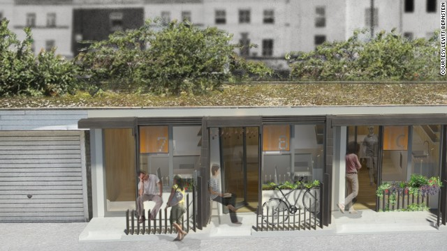 These 'pop-up' structures have been designed by architects Levitt Bernstein to occupy redundant garage structures on housing estates in London, England. The design won the HOME competition run by the Building Trust International.