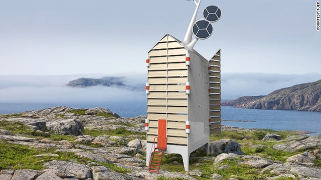 This micro-home concept was designed by by Dutch firm, Tjep, and features three separate floors, with a solar tree on the roof that helps meet the facility's energy requirements as well as a set of giant opening shutters.