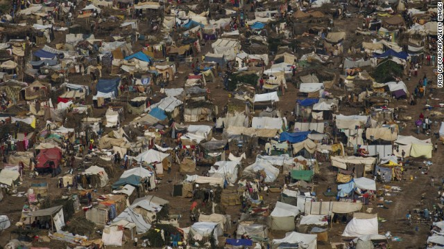 Tents are set up at a refugee camp near the airport in Bangui on Thursday, December 19.