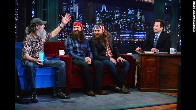 "Si, Jase and Willie appear on ""Late Night With Jimmy Fallon."""