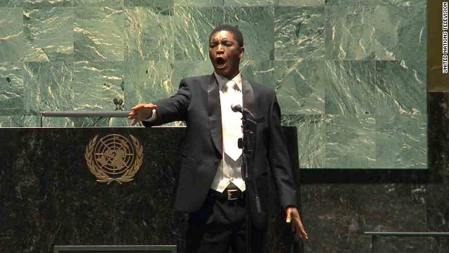 Thesele Kemane performs at the U.N. General Assembly in New York on Nelson Mandela Day last year.