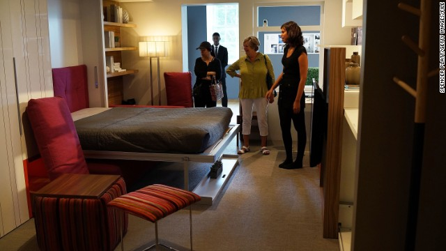 An example of a 325-square-foot apartment at the Museum of the City of New York. The exhibit, called 'Making Room', was inspired by a contest to design micro-apartments to help ease the affordable housing shortage.
