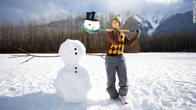 Building a snowman works your muscles while you're having fun.