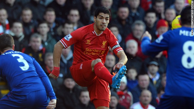 Luis Suarez continues to be the man of the moment in the Premier League, scoring two more goals Saturday.