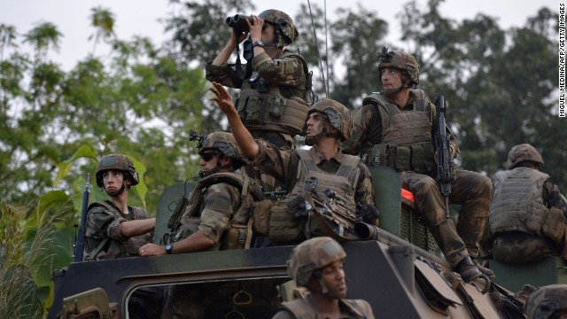 French troops patrol the Boy Rabe district of Bangui on December 20.