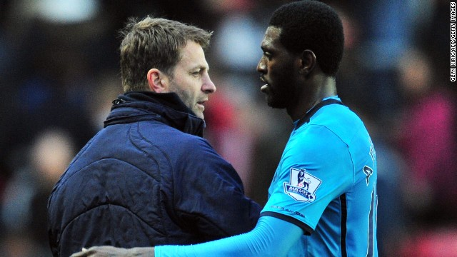 Tim Sherwood, left, has started Emmanuel Adebayor in both of his games in charge at Tottenham and the striker has produced.