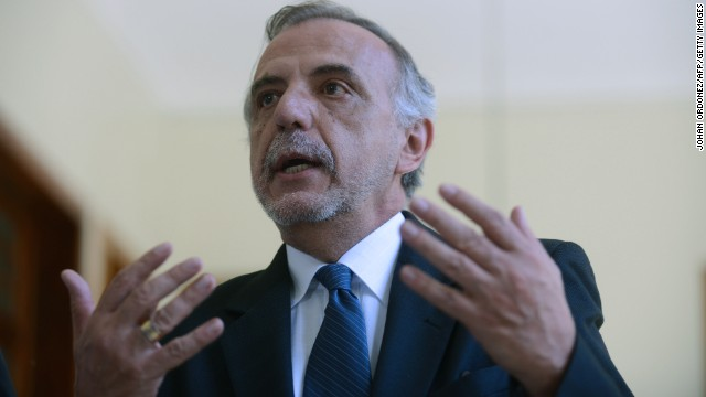 This file photo shows Ivan Velasquez, the new chief of the International Commission against Impunity in Guatemala, speaking during a press conference in October.