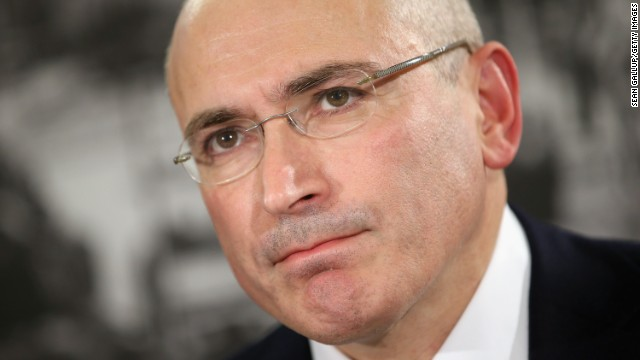 Mikhail Khodorkovsky speaks to the media after his release from a Russian prison Sunday in Berlin.