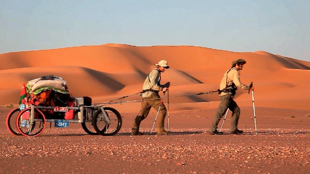 Alastair Humphreys and Leon McCarron tackled the desert or the Arabian peninsula, foresaking camels for a home-made cart.