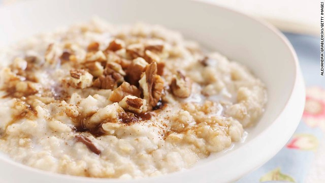 One cup of warm, gooey oatmeal contains 4 grams of fiber and 6 grams of protein, a combination that slows the digestion of carbs, reduces your insulin response, and keeps you fuller for longer, says Batayneh. In fact, a study published in the European Journal of Clinical Nutrition evaluated 38 common foods and found that oatmeal was the third most filling. <!-- --> </br><!-- --> </br>When possible, opt for steel-cut oatmeal, which goes through less processing than other varieties and as a result has a lower Glycemic Index score, a measurement of how much a food increases your blood sugar.<!-- --> </br><!-- --> </br><a href='http://www.health.com/health/recipe/0,,00420000004307,00.html' target='_blank'>Try this recipe: Steel-cut oatmeal with salted caramel topping</a><!-- --> </br>