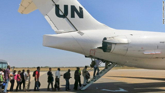 On Sunday, December 22, the United Nations relocates noncritical staff from Juba to Entebbe, Uganda. Civilian helicopters evacuated U.S. citizens from the violent South Sudan city of Bor, capital of Jonglei state, which has had bouts of heavy machine gun fire. Some 3,000 citizens from Canada, Britain and Kenya remain trapped there, a top U.N. official said Monday.