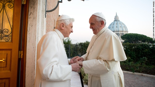 "Pope Francis, right, meets with Pope Emeritus Benedict XVI at the Mater Ecclesiae monastery in the Vatican on December 23. Benedict surprised the world by resigning ""because of advanced age."" It was the first time a pope has stepped down in nearly 600 years."