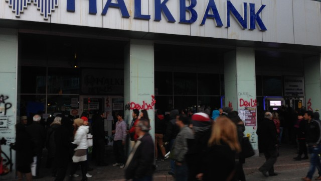 Protest in front of Turkish bank