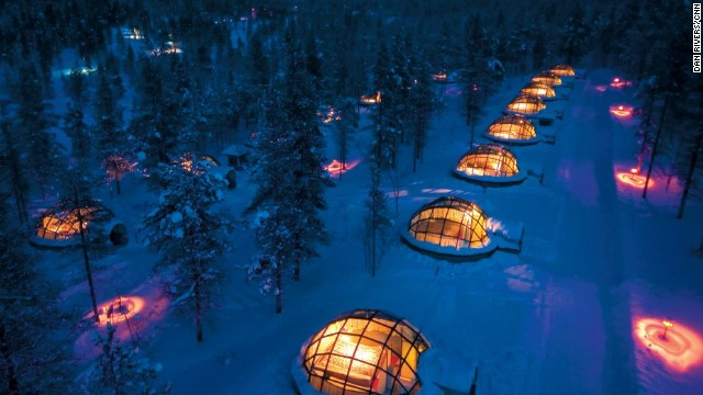 At Finland's Hotel Kakslauttanen, guests can view the Northern Lights from glass igloos -- privacy not included, obviously.