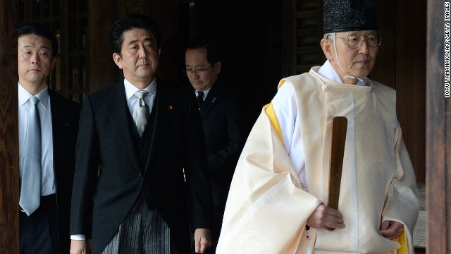 China was incensed by the visit of Japanese PM Shinzo Abe (C) to the controversial Yasukuni war shrine on December 26.