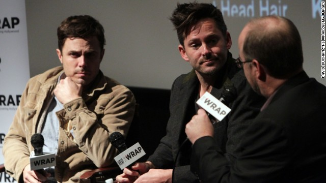 Actor Casey Affleck and director Scott Cooper speak at a screening of