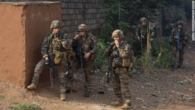 French soldiers patrol the Fouh district in Bangui on December 28.