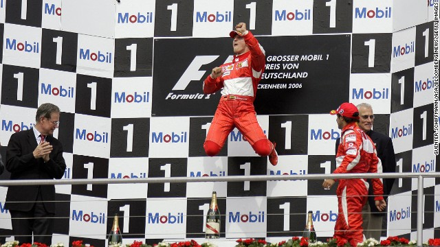 Schumacher celebrates his win at the Formula 1 Grand Prix of Germany in 2006 in Hockenheim, Germany.