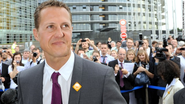 Schumacher visits the European Parliament in Strasbourg, France, to test eSafety technologies in 2011.