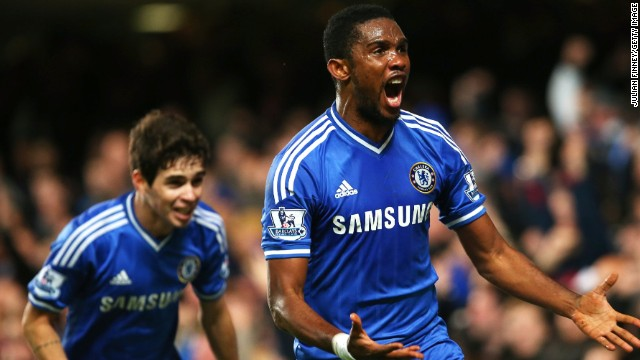 Chelsea striker Samuel Eto'o celebrates after scoring his team's winner against Liverpool at Stamford Bridge.