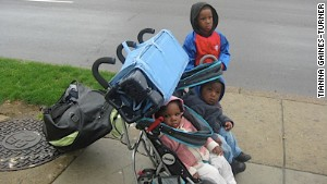 Tianna Gaines-Turner\'s three children are shown during their time of homelessness.
