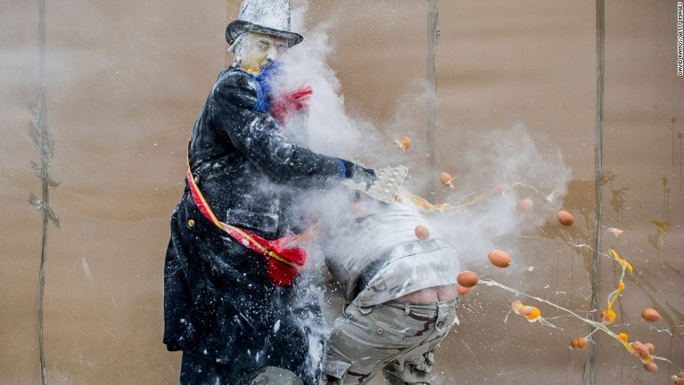 On December 28 every year, the Spanish town of Ibi celebrates Els Enfarinats, a festival in which revelers in mock military dress battle each other with flour, eggs and fireworks. Or to put it another way: You can't have a food fight without breaking eggs.