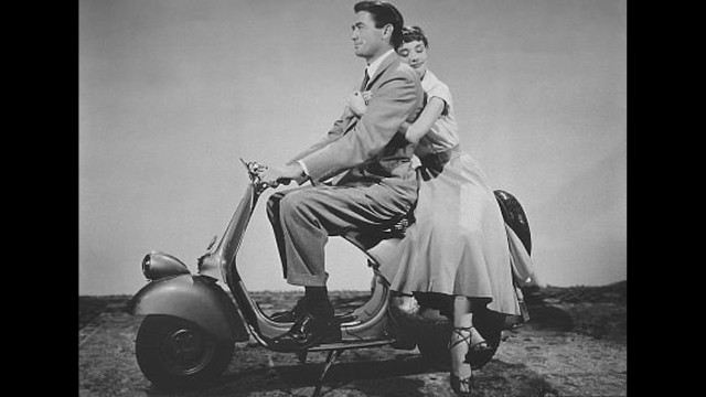 "Gregory Peck and Audrey Hepburn star in ""Roman Holiday"" from 1953."