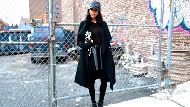 Janelle Lloyd of the street fashion and decor blog <a href='http://www.girlsofffifth.com/' target='_blank'>Girls Off Fifth</a> makes an all-black ensemble look luxe by mixing textures like soft leather, wooly knits and quilting detail.
