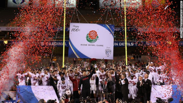 The Stanford Cardinal celebrates their invitation to play the 100th Rose Bowl game, battling Michigan State.