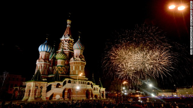 Fireworks light up the sky over St. Basil's Cathedral in Moscow's Red Square as Russians welcome the new year.