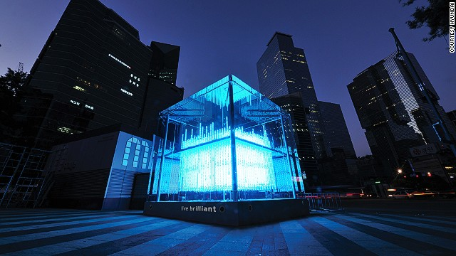 This spectacular kinetic sculpture is the latest high-tech landmark to debut in Gangnam, Seoul.