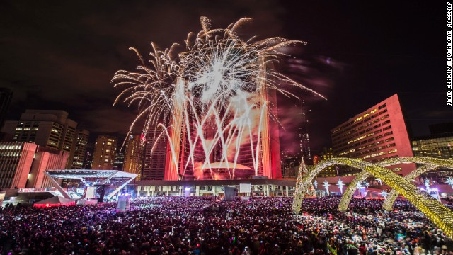 Fireworks explode during Year's Eve celebrations in Toronto, Canada.