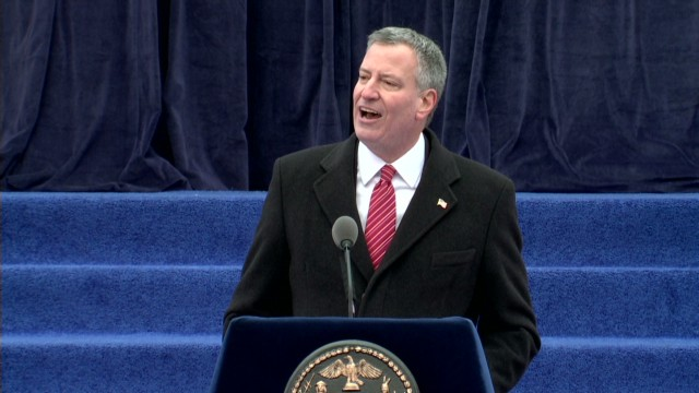 "New York Mayor Bill de Blasio chews the fat – and pizza - on ""The Daily Show"""