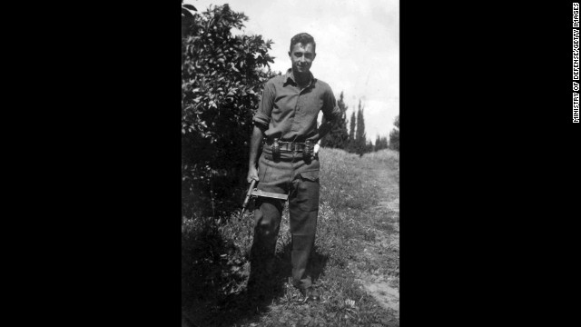 Sharon, born on a farm outside of Tel Aviv, began working with the Haganah, a militant group advocating for Israel's independence, after graduating from high school in 1945. He's shown as a young commander in the Alexandroni Brigade of the fledgling Israeli army in 1948.
