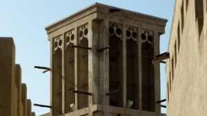 A traditional wind tower in Dubai\'s Al Bastakiya area.