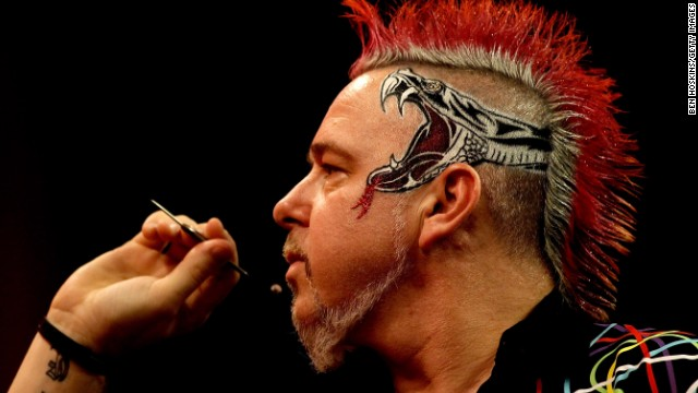 Peter Wright, who finished as runner-up in the PDC World Championship, is one of the sport's more colorful characters. The glitzy shirts and outrageous mohawk hairstyle means there's no chance of him being missed on stage.