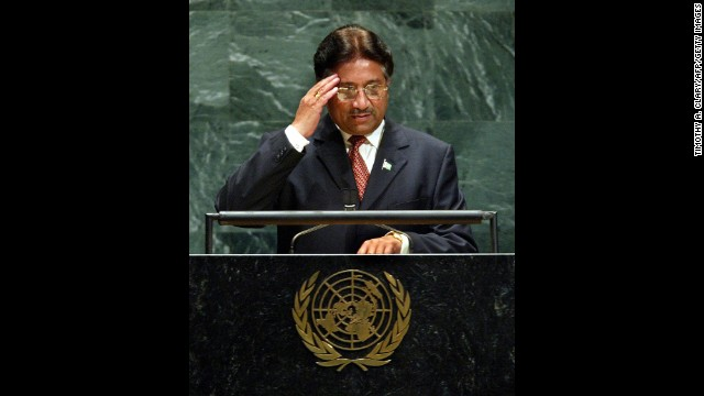 Musharraf salutes before his speech at the United Nations General Assembly in 2003.