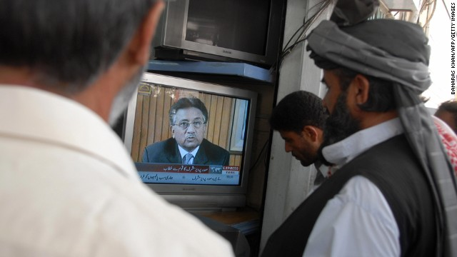 Men in Quetta, Pakistan, watch as Musharraf announces his resignation as president on August 18, 2008. A month earlier, the Pakistan Supreme Court issued notice that Musharraf would have to defend himself on charges of violating the constitution by declaring emergency rule in November 2007.