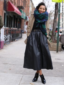 Jessica Lloyd and her sister love to hunt for unique vintage pieces like this rich black leather midi skirt.